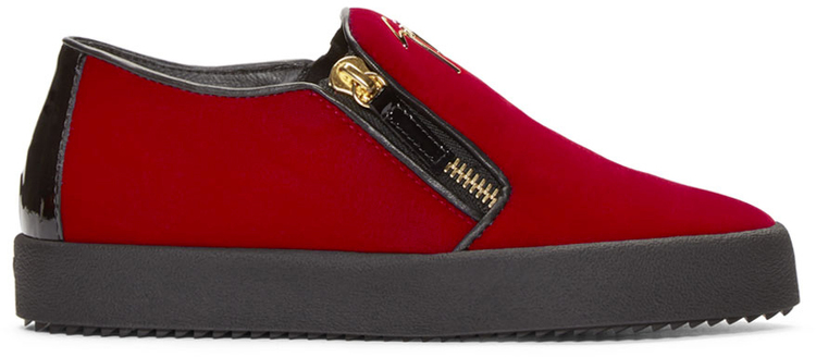 giuseppe_zanotti_ssense_exclusive_red_black_velour_slip_on_london_sneakers