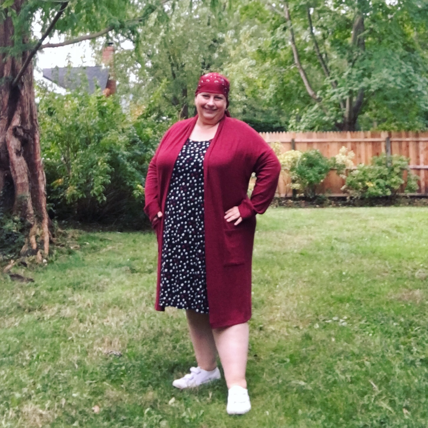 20e3a97775225 Wednesday: Karen Kane polkadot plus size swing dress (old, similar here or  here); Rainbow burgundy fleece longline cardigan; vintage headscarf.