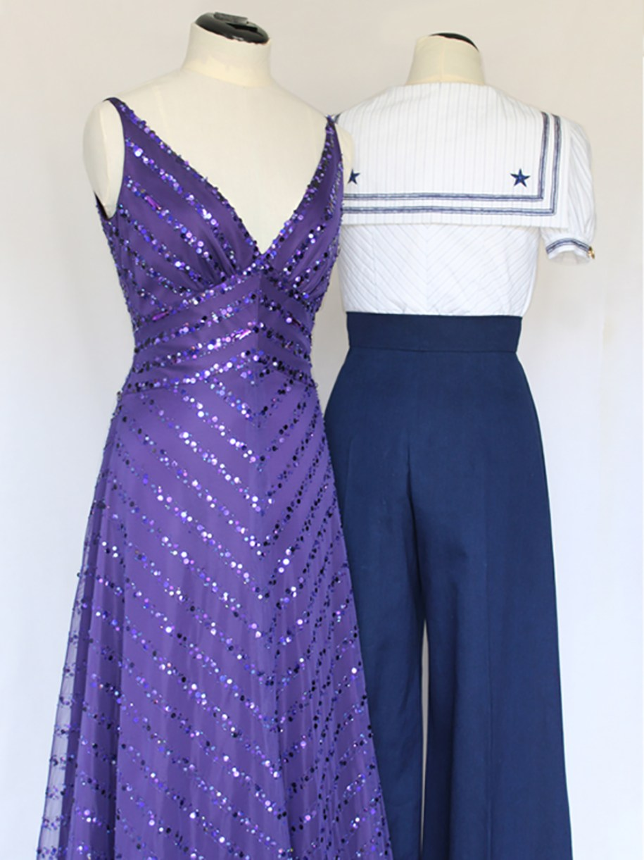 Look 1 Front : Purple Evening Gown, Look 2 Back : White Striped Sailor Collar Blouse and Wide Leg Trousers