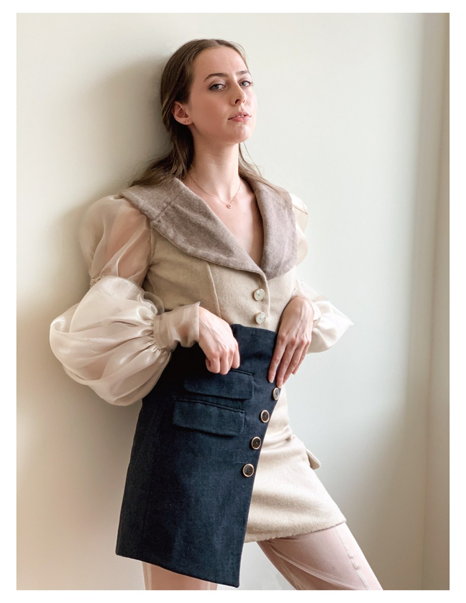 """Sand/Greige double-faced wool jacket w/ smocked organza sleeves, charcoal/sand """"apron"""" skirt, organza pant"""