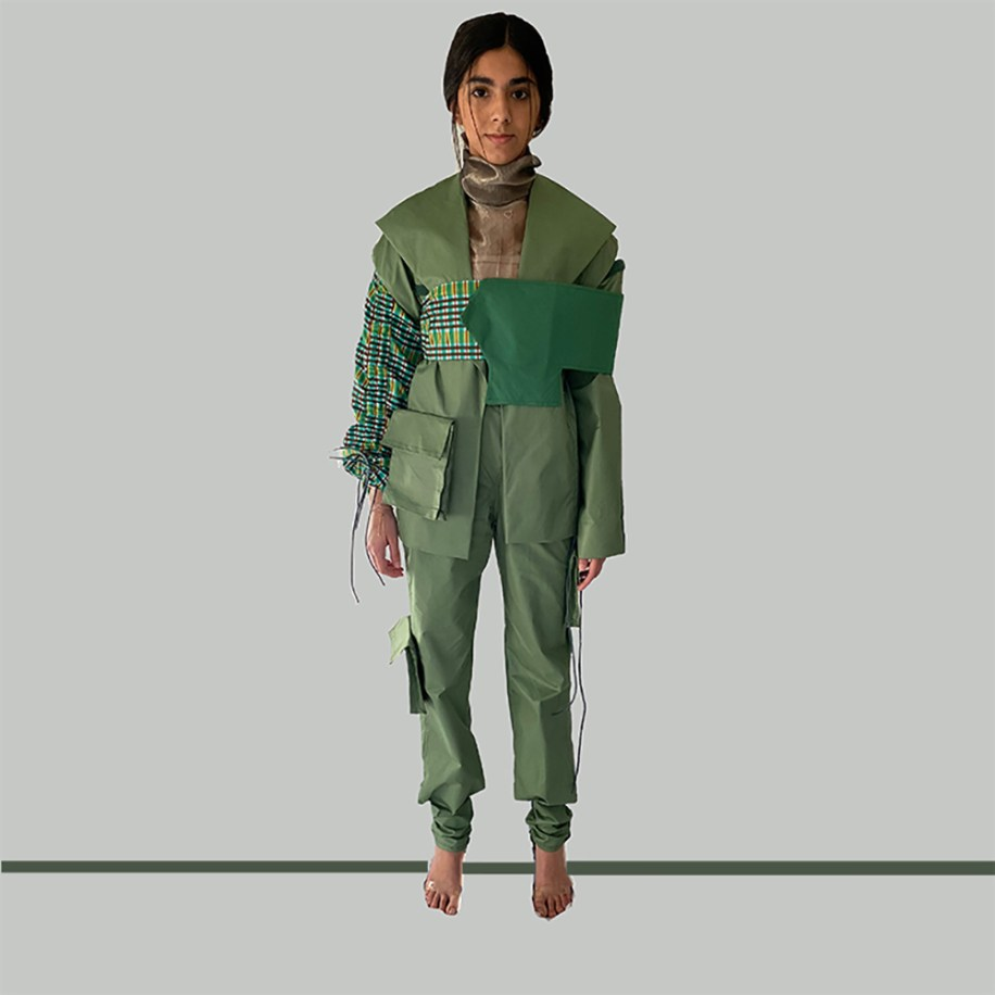 "Olive cotton/silk multi color plaid Velcro seamed ""interchangeable section"" jacket & cargo pant, w/bandeau over-piece"