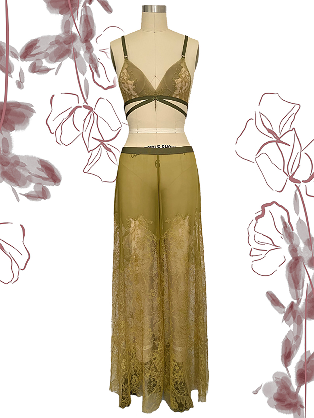 Chartreuse Sheer Illusion Soft Bra & Long Silk Chiffon Pant w/Applique Lace