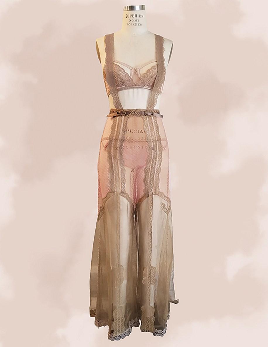 Peach & ecru net w/vintage lace bra, panty, & pant w/suspenders; & hand embroidery