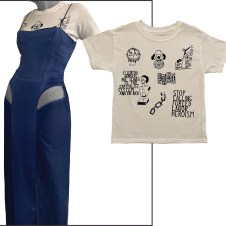 ¾ view of hand dyed blue dress w/ cut-outs, t-shirt
