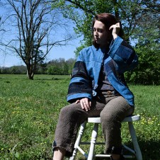 Jenna in Hemp+Organic Cotton, Indigo Dyed, Patchwork Jacket with Hand Woven Trouser.