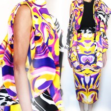 Purple and Yellow Printed Vest, Printed Skirt, Solid Black Top.