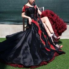 Black silk & wool hand weaved bead dress with red ruffles