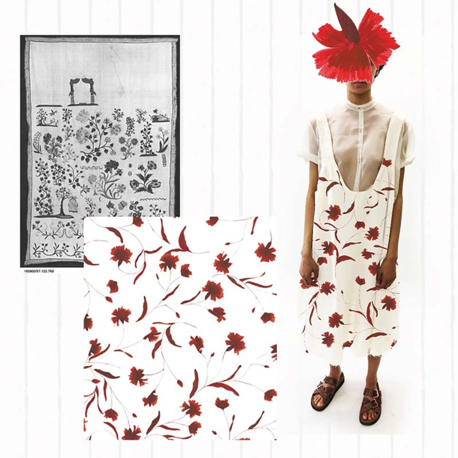 Look 1 front view with hand painted textile design developed from vintage german prints