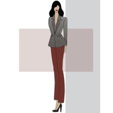 Tailored Blazer, V-neck blouse, straight leg pant