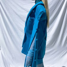 Look 1-Side View- Functional button detail shown open with hand dyed ruched catsuit sleeve