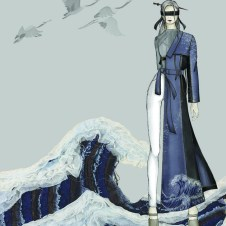 Look2 sketch: sustainable denim half trench coat, knit top and pants