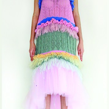Hand Loomed ruffles and mohair frill embellished knit dress