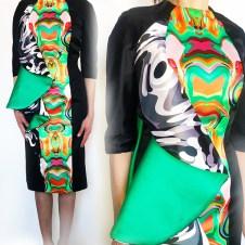 Orange and Green Printed knee length Dress.