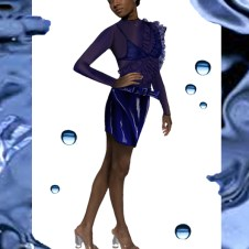 Patent leather asymmetrical skirt and a heat-puckered nylon top with singed edges