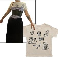 Gingham/Black dress, latex corset, t-shirt