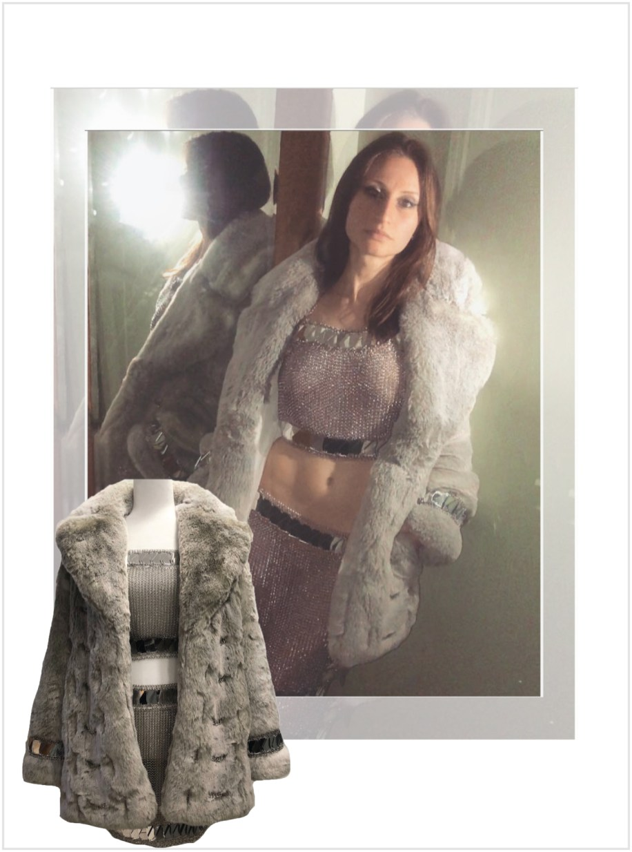 Faux fur with chains hand-woven through, hand linked rope chain with mirror trim