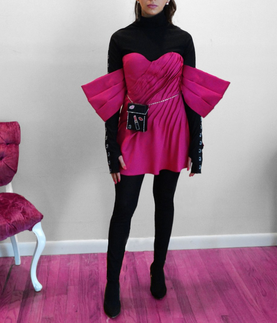"Shocking Pink ""bow"" inspired tucked mini-dress, black mesh ""logo "" trimmed catsuit"