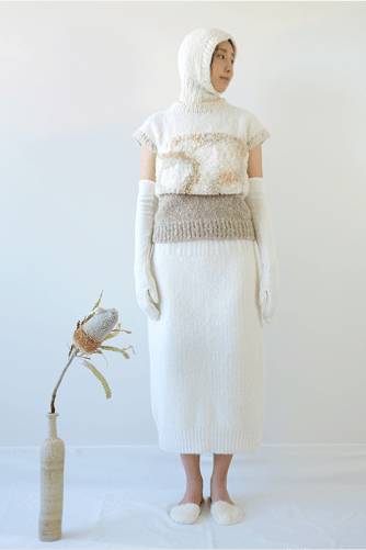 Saemi Jeob Collection Photo 2 - Full look, model standing next to flower vase