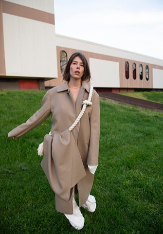 Kerrigan Steger Onno Collection Photo 2 - Front view of garment and model. Building in the background - different pose