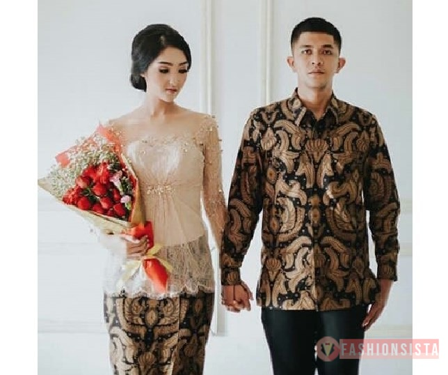 Baju Kebaya Couple Brokat Payet Transparan Soft Nude Fashionsista
