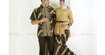 Baju Kebaya Couple Model Peplum Kuning Emas