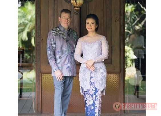 Baju Kebaya Couple Panjang Leher V Aqua Blue Fashionsista Co