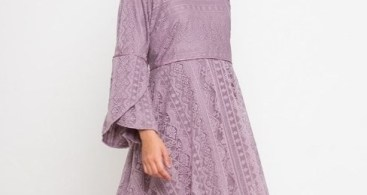 Model Baju Dress Kebaya Brokat Muslim Lavender