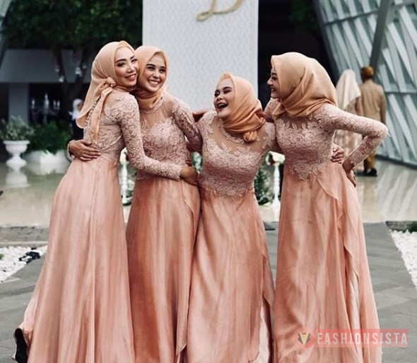 Model Baju Dress Kebaya Brokat Muslim Peach Tua Fashionsista Co