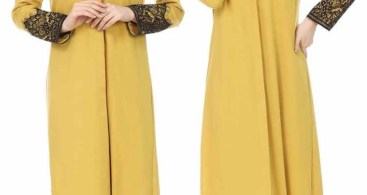 Model Gamis Inner Polos Kuning Soft Simple