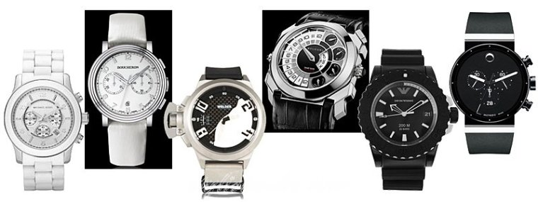 Black And White Luxury Wrist Watch 2013 Collection For Men