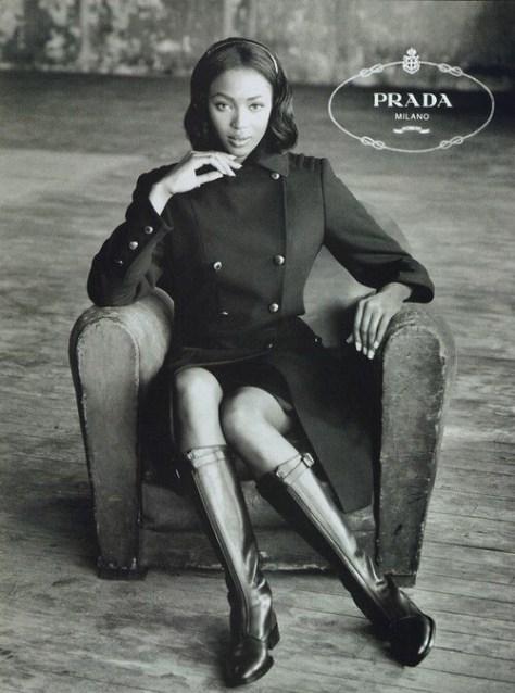Naomi Campbell in a 1994 Prada Ad campaign
