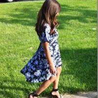 Outfit: Topshop Navy Blue Flower Dip Hem Tea Dress