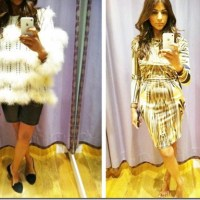 Outfit: Topshop Premium Cream Marabou Feather Knitted Stipe Jumper