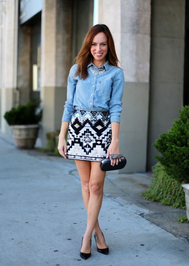18 Street Style Outfit Ideas With Denim Shirt