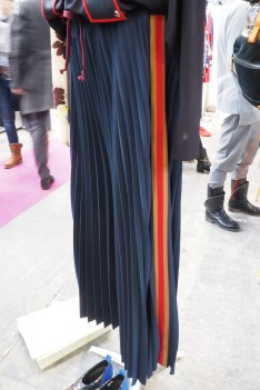 Pleated and stripe pants