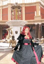 Black Jacquard Red Satin Vintage Inspired Dress