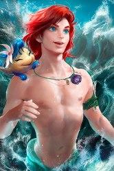 Mermaid Ariel and Fish Flounder gender reversed