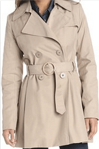 Via Spiga Women's Double-Breasted Rain Trench Coat