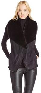 BCBGMAXAZRIA Women's Stefano Draped Vest, Black