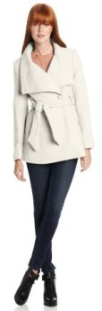 Jessica Simpson Women's Basketweave Coat with Belt, Off White