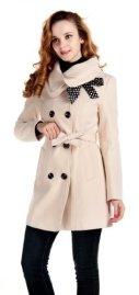 Lanhuacao Women Wool Blends Coat Slim Trench Winter Coat Long Jacket Outwear Beige S
