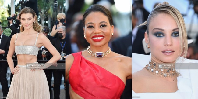 第74回カンヌ国際映画祭にてマディソン・ヘッドリックやローズ・バートラム、エマ・クレア・シンらがポメラートのジュエリーをまとい登場(7月13日)