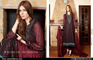 Embroidered Swiss Cotton Dresses By Rujhan 2015-16 3