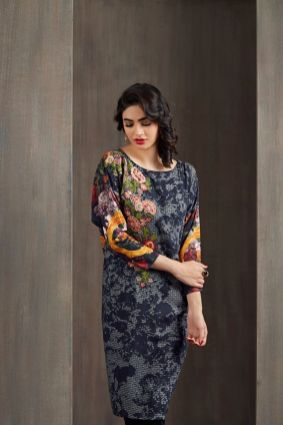 Floral Printed Kurtis For Winter By Happa Studios 2015-16 2