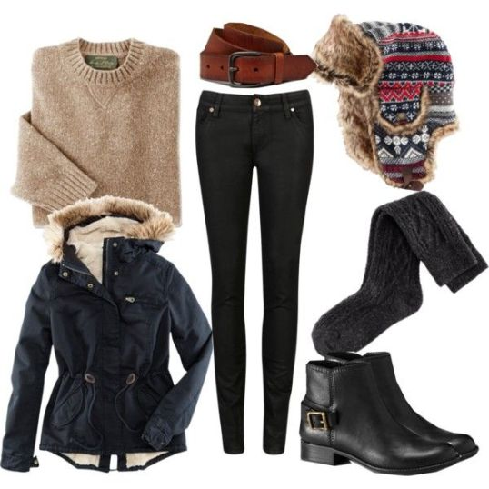 winter polyvore with ankle boots