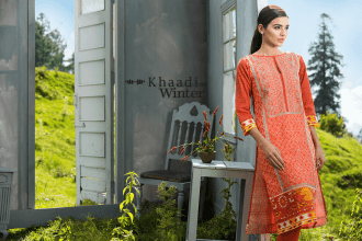 Two Piece Embroidered Polyester Kameez By Khaadi 2015 17
