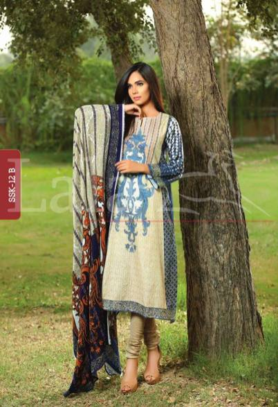 Printed winter shalwar kameez