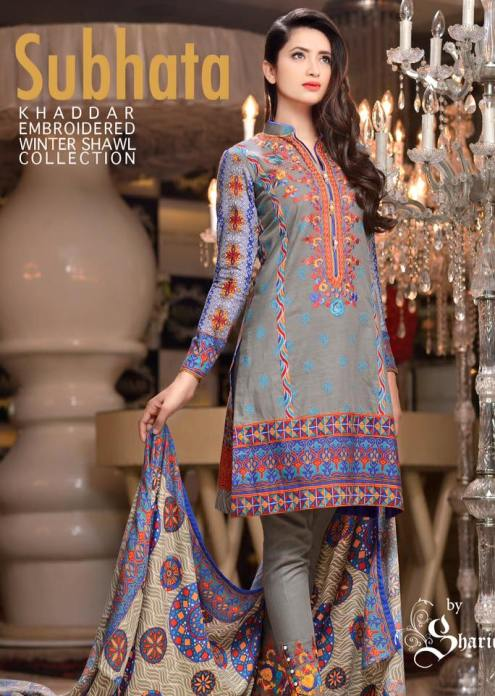 Khaddar Embroidered Winter Shawl Dresses Subhata Collection 2016