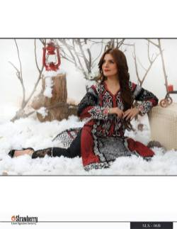 Linen Embroidered Kurtis Strawberry Collection 2016 12