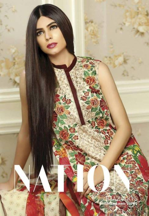 Swiss Lawn Party Wear Dresses Nation By Riaz Arts 2016